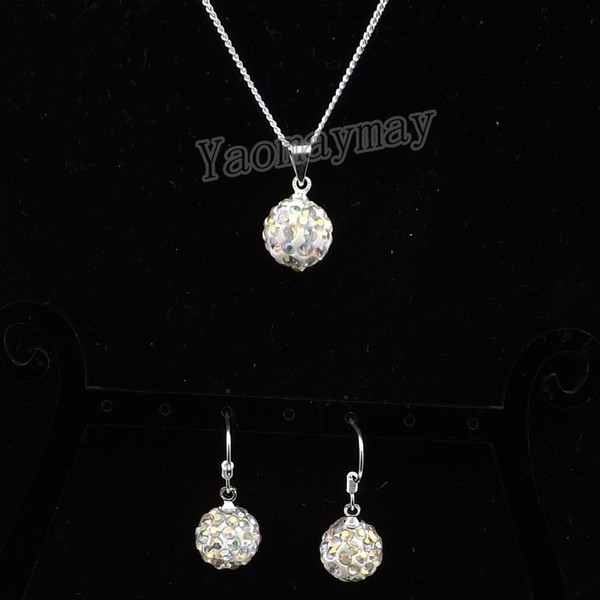 AB Clear Disco Ball Pendant Earrings And Silver Tone Necklace Crystal Jewelry Set 10 Sets Wholesale