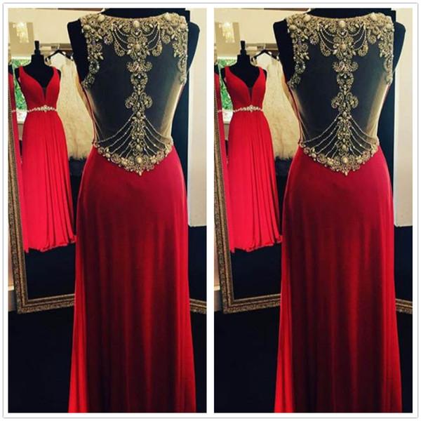 2017 New Elegant V Neck Red Spandex Long Prom Dresses Sheer Back Beaded Stones Ruffle Floor Length Formal Party Evening Dresses