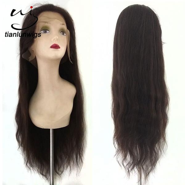 pelucas rectas del cordón del pelo humano del precio de fábrica barato 22inch con la armadura agradable del pelo humano del cordón del color del pelo # 2 del bebé
