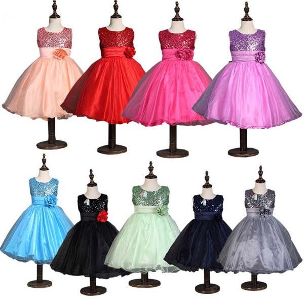 best selling 2018 summer Children Sequin Dress Girls Tutu Lace Flower Long Dresses Princess Chiffon Formal Kids Dresses Fashion Girl Clothes 100-170 LH03