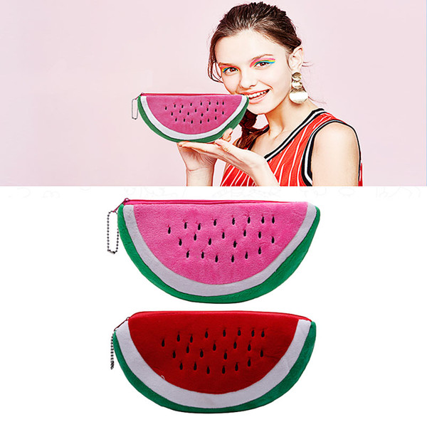 Wholesale- Women Watermelon Soft Plush Cosmetic Bag Coin Wallet Purse Handbag Pencil Case