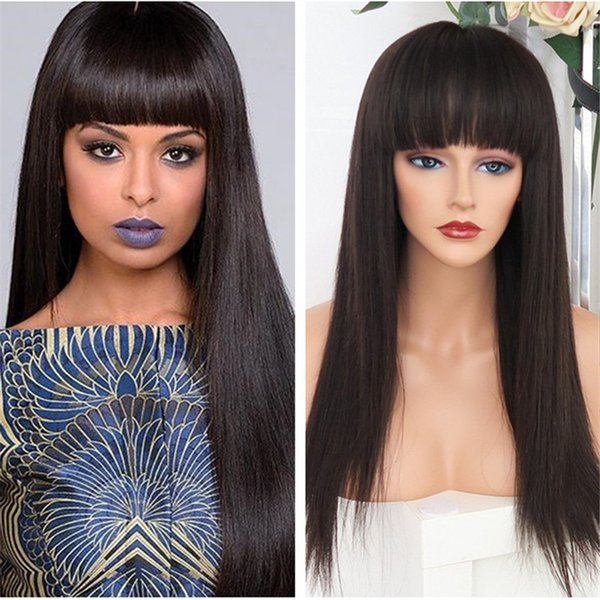 Hot Sale 18inch Silk Straight Human Hair Virgin European Lace Front Wig with Fringe Free Shipping