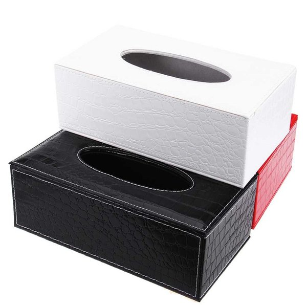 best selling Wholesale- 3 Colors Stylish Elegant Royal PU Leather Crocodile Pattern Household Tissue Box Holder for Home Office and Car