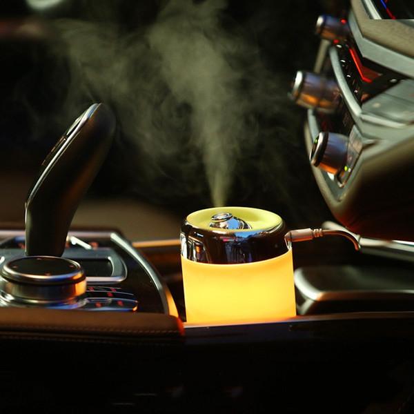 Seyahat Taşınabilir USB Araba Hava Temizleyici Renk Değiştiren LED Işıkları ile Ultrasonik Nemlendirici Aroma Difüzör DC 5 V 180 ML