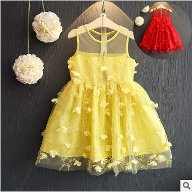 New Arrival Sleeveless Butterfly Dresses For Little Girl Lace Veil Dress Children Kids Princess Skirt Elegant Wedding Dress Discount