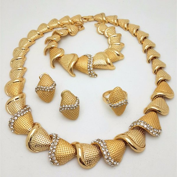 2017 Handmade Dubai Gold Plated Jewelry Sets 18K Fashion Big