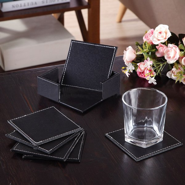 Wholesale- 6 Pcs Double-deck Leather Coasters Set Placemat of Cup with Coaster Holder High Quality Fashion Tableware Mats & Pads
