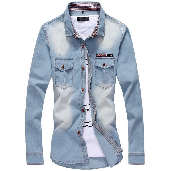 Wholesale- 2016 High Quality Men Denim Shirt Casual Long Sleeve Fashion Plaid Collar UK Flag Pocket Jean Shirt Man Plus Size 3XL 4XL 5XL