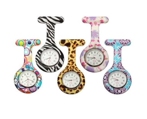 3000Pcs Silikon-Krankenschwester-Uhr-Taschenuhr gedruckte Muster-Taschen-Quarzuhr Freies Verschiffen