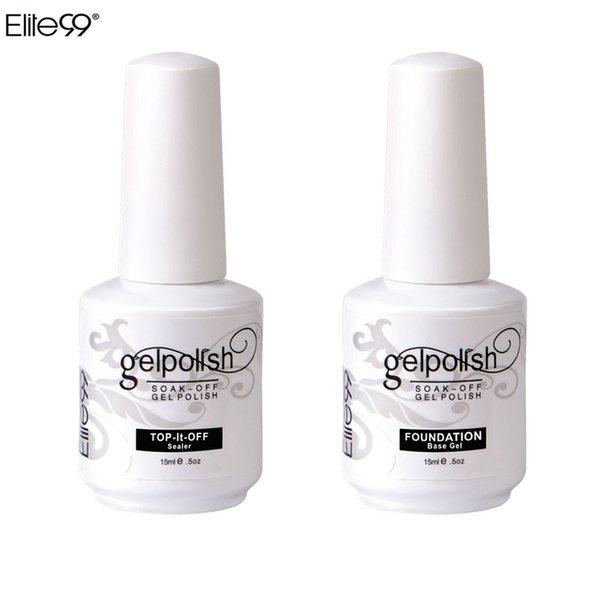 Wholesale-Elite99 15ml Nail Art Decorations Gel Nail Polish Foundation for Art Beauty LED Lamp Needed Top And Base Coat UV Gel Nail