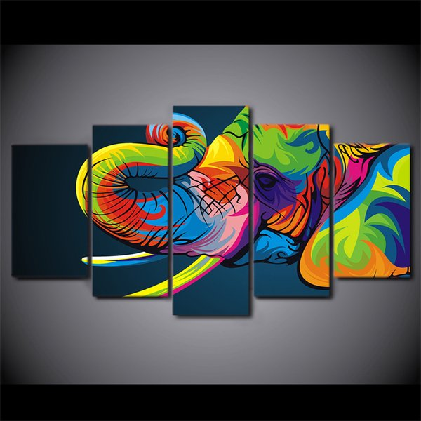 5 Pcs/Set Framed HD Printed Colorful elephant Painting Canvas Print room decor print poster picture canvas Free shipping/ny-2650