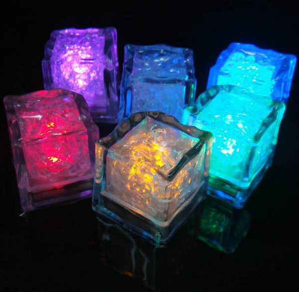 top popular Romantic Luminous Flash Ice Cube Water-Actived Flash Led Light Put Into Water Drink Flash Automatically for Party Wedding Bars Christmas 2019