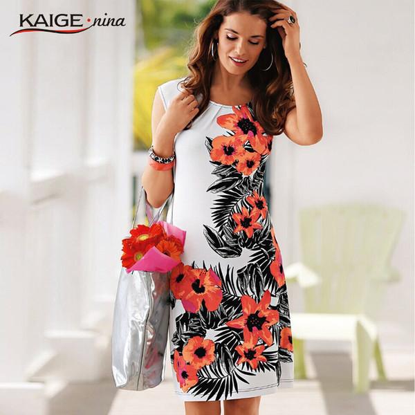 Vente en gros- dames robe d'été Casual Femmes Dress vintage Imprimer Floral sans manches robe de bureau bodycon plus la taille des femmes vêtements