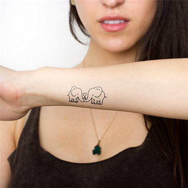 Wholesale- HC1081 Waterproof Removable Temporary Tattoo Sticker Cute Cartoon Baby Elephant Pattern Flash Tattoo Kawaii Fake Tattoo Stickers