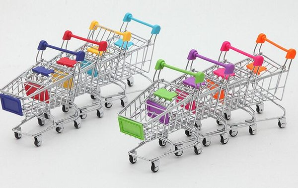Free Shippng 30pcs/lot Fashion Mini Supermarket Hand Trolleys Mini Shopping Cart Desktop Decoration Storage Phone Holder Baby Toy