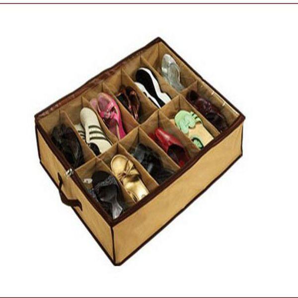 12Pair Cloth Fabric Shoes Storage Organizer Holder Shoe Organiser Box Closet 67*56*15cm can ues to Home Hot