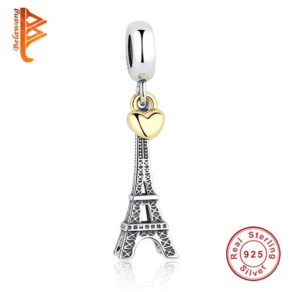 BELAWANG PARIS EIFFEL TURM Charm Anhänger 925 Sterling Silber Gold Herz Perlen Fit Pandora Armbänder Halsketten Schmuck Für Valentinstag
