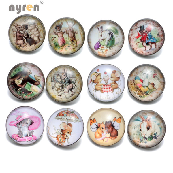 KZ0381 Wholesale 12pcs/lot Vintage Buttons Cartoon Mice/Rabbit Series Glass Snap Buttons Fit DIY 18mm Snaps Jewelry