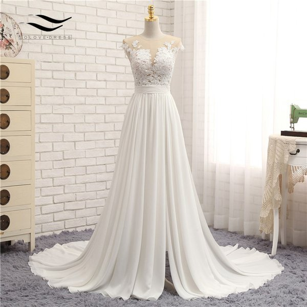 Discount Sleeveless Chiffon Scoop Sweep Train Floor Length Zipper A ...