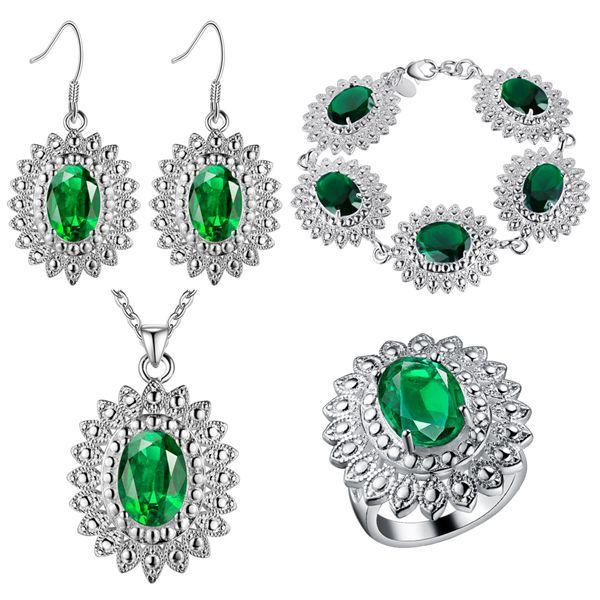 Thick silver jewelry of chrysanthemum color treasure of beautiful foreign trade jewelry wholesale colorful stone
