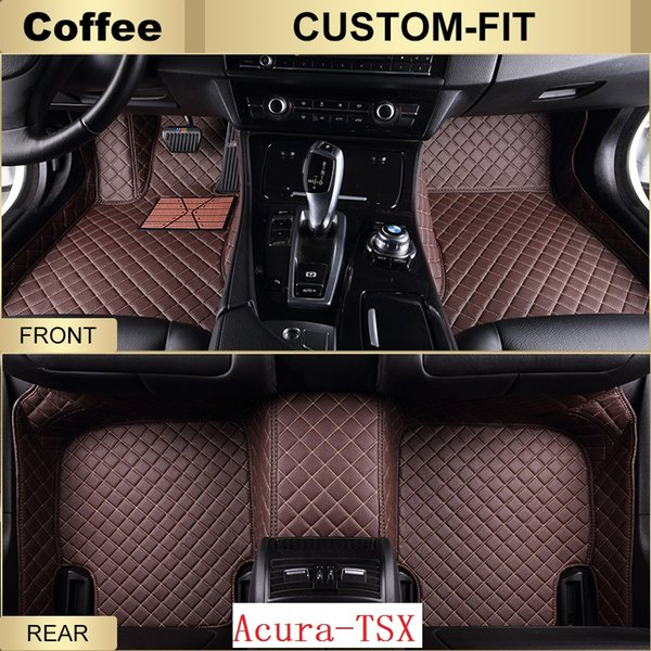SCOT Custom Fit Leather Car Floor Mats for Acura TSX All Weather Waterproof Anti-slip 3D Front & Rear Carpets Right-Hand-Driver-Model