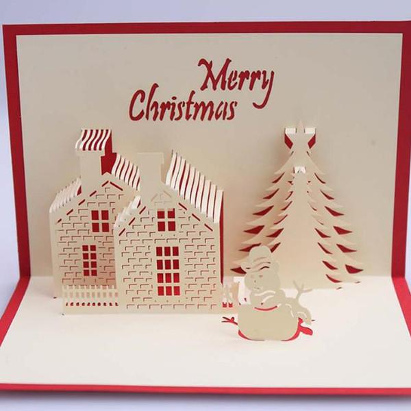 Christmas Postcards.Christmas Cards 3d Pop Up Merry Christmas Series Handmade Custom Greeting Cards Christmas Gifts Souvenirs Postcards Customized Christmas Cards