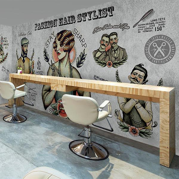 Toptan-3D kişiselleştirilmiş özel duvar kağıdı eski kuaför dükkanı kuaför makyaj dükkanı kahve dükkanı temalı restoranlar büyük duvar kağıdı