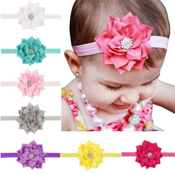 13 Colors Baby Girls Lotus Flower Rhinestone Headbands Infant Kids Hair Accessories Headwear Cute lovely Hairbands Princess Headwear KHA18
