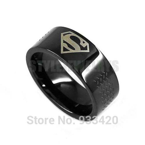 Free shipping! Classic Black Superman Motor Biker Ring Stainless Steel Jewelry Fashion Motor Biker Men Ring SWR0527B