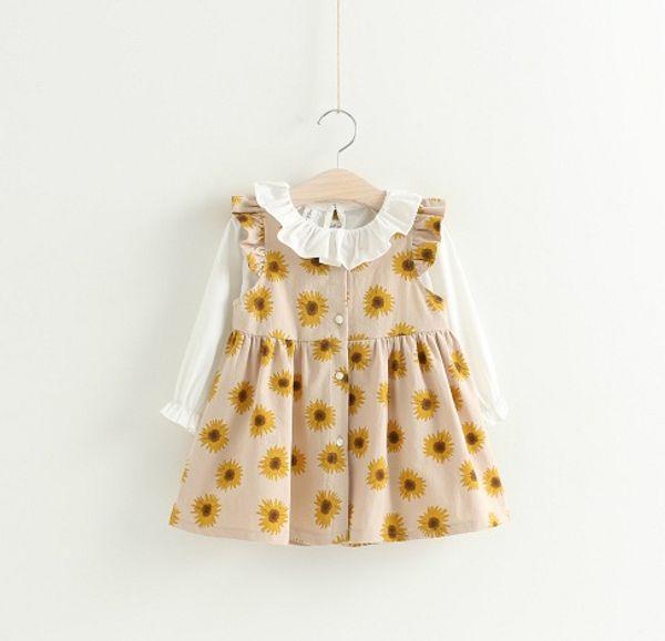 Temizle Stok Kızlar Ayçiçeği Elbiseler + Gömlek Kıyafetler 2018 Güz Çocuklar Butik Giyim Küçük Kızlar Fırfır Yaka Uzun Kollu 2 Parça Set
