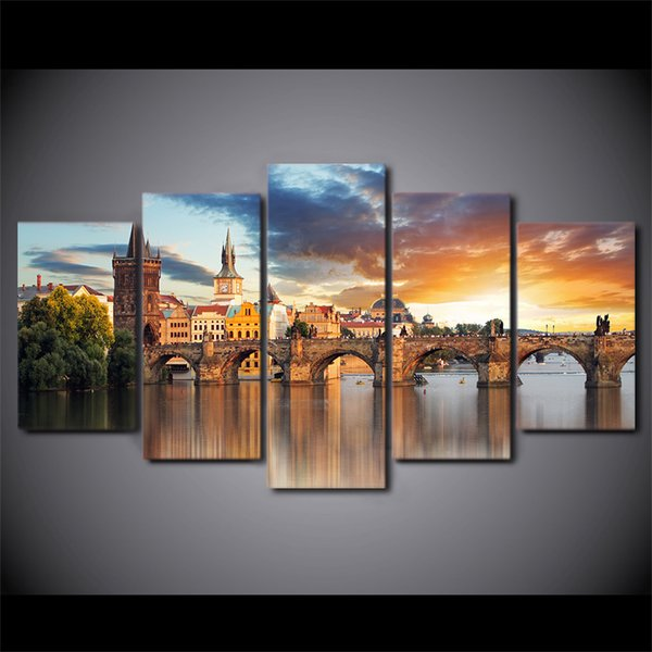 New bridge building landscape oil Painting Canvas art Print Picture for Living room Artwork Home decor wall poster 5 piece Unframed