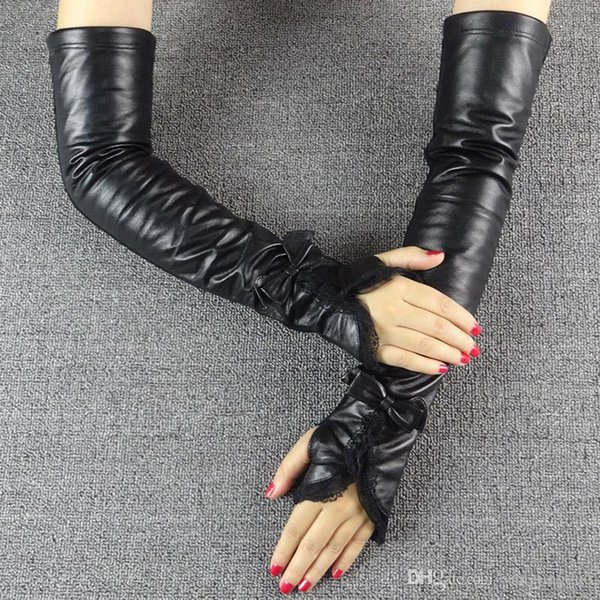 2016 Time-limited Sale Finger Gloves Black Fur Ms Long Leather Lace Gloves In Winter Cuff Elastic Driving Points Refers To The Package Mail