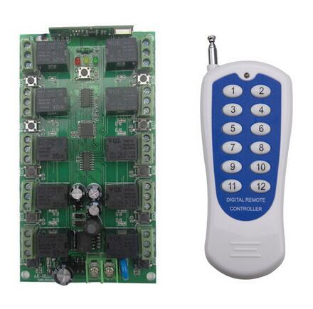 Wholesale- DC 12V 10A 10 channel RF Wireless Remote Control system 1 Receiver +1 Transmitter Individual learning code