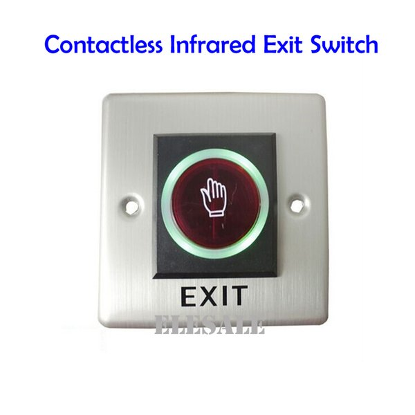 Wholesale- Infrared Exit Button 86x86mm No Touch Contactless Door Release Unlock Switch LED Light For Access Control System Wholesale