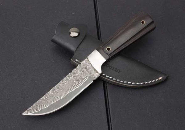 Top Quality Damascus Survival Straight Knife Drop Point Blade Ebony Handle Outdoor Camping Hunting Fixed Blade Knives With Leather Sheath