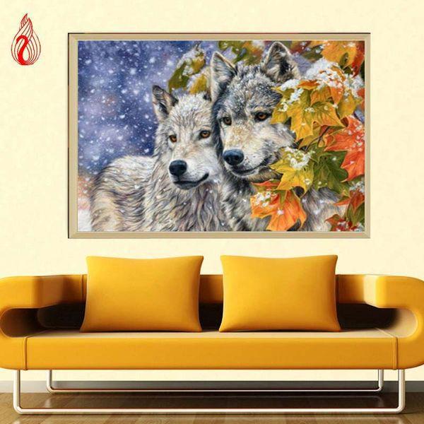 Promoción DIY 5D parcial bordado de diamantes The Wolfs Round Diamond Painting Kits de punto de cruz Diamond Mosaic Home Decoration