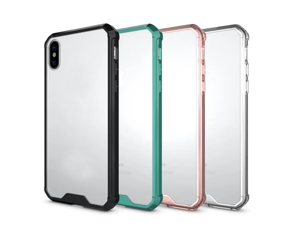 4da451b20e9 Hybrid Shockproof Acrylic Case For Iphone XR XS MAX X 10 8 7 Plus 6 Galaxy  Note 9 S9 S8 Hard Plastic+Soft TPU Clear Crystal Dual Gel Cover