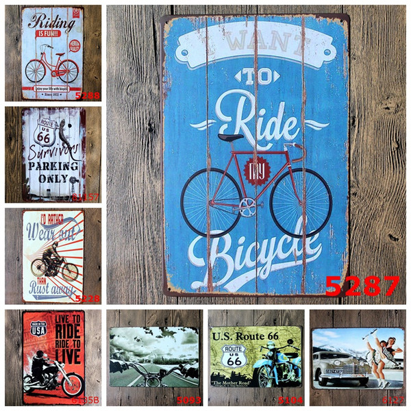 Bicycle Motorcycle Retro metal Poster Wall Decor Bar Home Vintage Craft Gift Art 20x30cm Iron painting Tin Poster Mixed designs