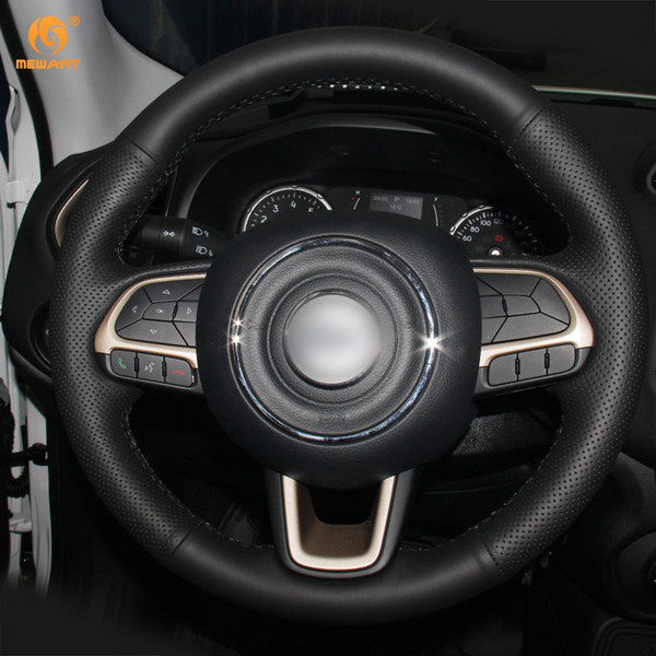 DIY Mewant Black Artificial Leather Car Steering Wheel Cover for Jeep Compass 2017 Renegade 2016 2017