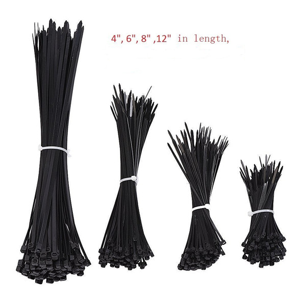 best selling 1000pcs Black Nylon Self-Locking Heavy Duty Standard Cable Wrap Zip Ties Straps Wire Cable Tie Kit Fasten Ties for home and Industry