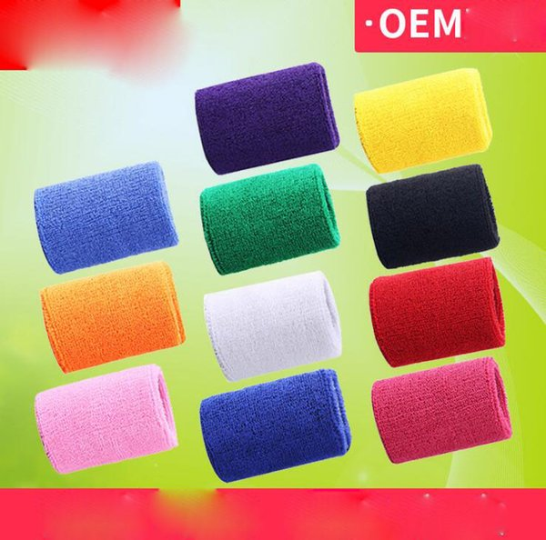 best selling Terry Cloth Wristbands Sport Sweatband Hand Band Sweat Wrist Support Brace Wraps Guards For Gym Volleyball Basketball