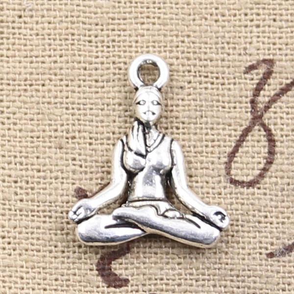Al por mayor-99Cents 6pcs encantos yoga practicante 20 * 16 mm Antique Making colgante en forma, Vintage Tibetan Silver, DIY collar de la pulsera