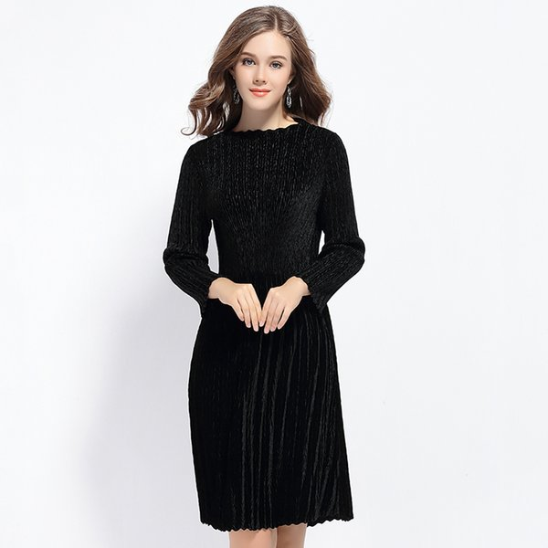 Yiyange 2016 New Velvet Dress With Long Sleeves And Long Sections