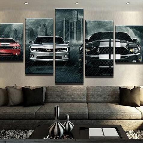 5 panel canvas printing challenges bumblebee horse painting life photo wall art high definition printing decoration of modern art