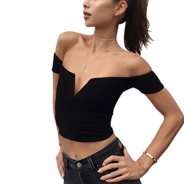 2017 Nuovo arriva primavera e estate V puro cotone a maniche corte con spalle femminili T-shirt donna nero bianco