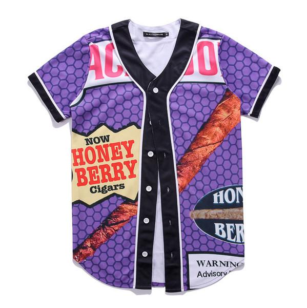 Venda por atacado- MTS77 3D T Shirt Estilo Verão Hip Hop homens Camiseta Backwoods Mel Baga Blunts Unisex Baseball Uniforme Camisa Casal