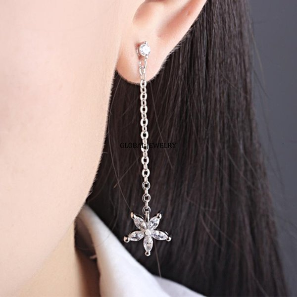 best selling The heart of the decorative petals Earrings female long Tassel Earrings Korean fashion zircon jewelry wholesale Earrings