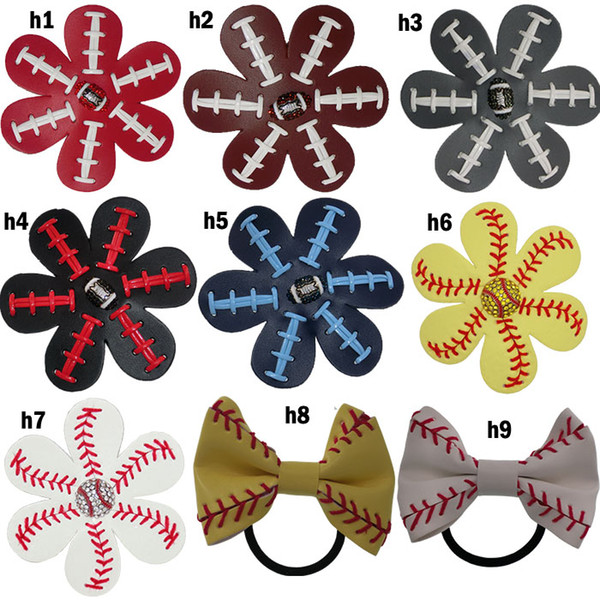 best selling Softball Flower Accessory and hair clip,softball baseball football soccer hair bows Bling Hairbow
