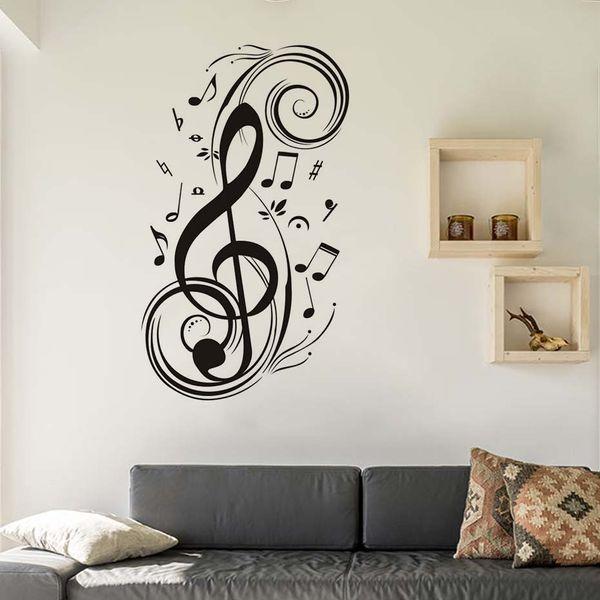 Acheter Diy Musical Note Home Decor Musique Stickers Muraux Impermeable Amovible Vinyle Stickers Enfants Chambre Decoration De La Maison De 22 12 Du