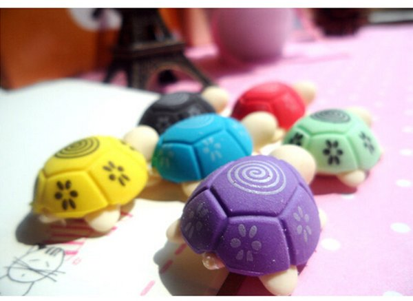 Wholesale-2PCS Mini Animal Rubber Eraser Cleansing Stationery Cute Cartoon Turtle Shaped Erasers For Kids Students School Office Suppliers